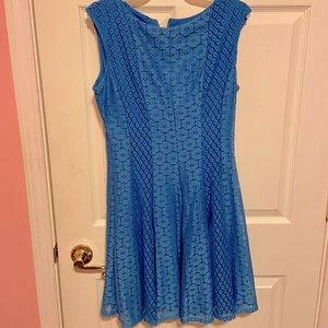 Danny and Nicole Lace Blue Skater Sleeveless Dress